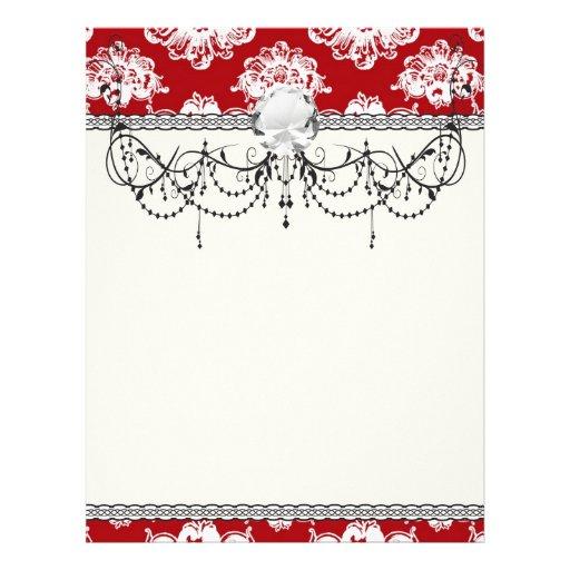 damasco romántico grande blanco rojo plantilla de membrete