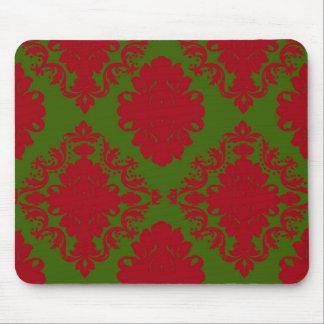 damasco romántico rojo verde del navidad tapetes de ratón