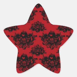 damasco romántico rojo y negro etiquetas