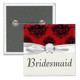 damasco romántico rojo y negro pin