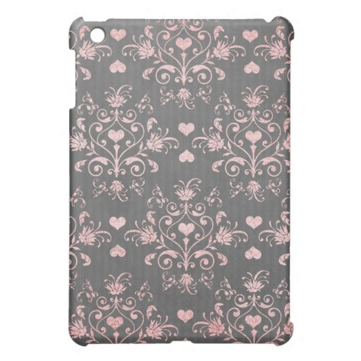 damasco romántico rosado bonito del corazón en gri