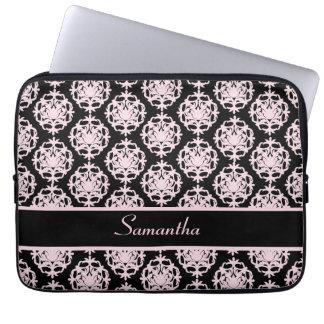 Damasco rosa claro en negro mangas portátiles