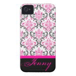 Damasco/rosa de PixDezines Rossi+Color de Black/DI Case-Mate iPhone 4 Cobertura