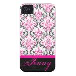 Damasco/rosa de PixDezines Rossi+Color de Case-Mate iPhone 4 Cobertura