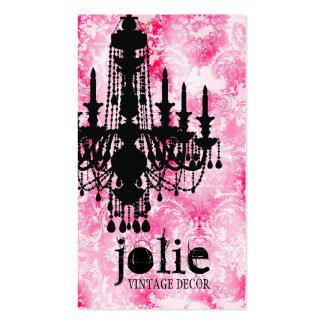 Damasco rosado blanco de la lámpara de Jolie de la Tarjetas De Visita