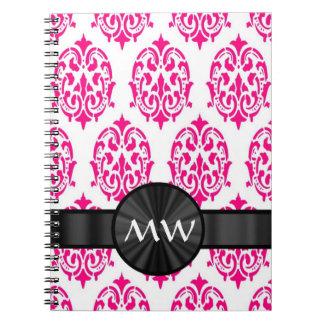 Damasco rosado con monograma cuaderno