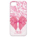 Damasco rosado con monograma y cinta rosada iPhone 5 Case-Mate cobertura