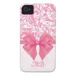 Damasco rosado con monograma y cinta rosada iPhone 4 fundas