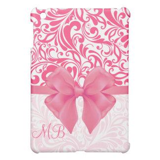 Damasco rosado con monograma y cinta rosada iPad mini coberturas