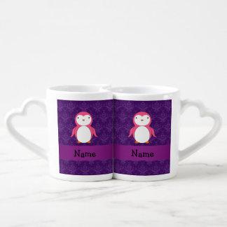 Damasco rosado conocido personalizado de la taza para enamorados