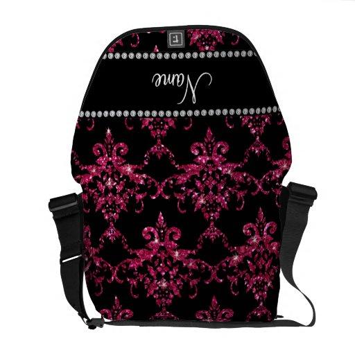 Damasco rosado conocido personalizado del brillo bolsas de mensajeria