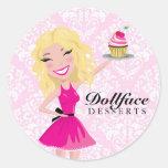 Damasco rosado de Blondie de 311 postres de Pegatina Redonda