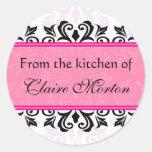 Damasco rosado de la cocina de los pegatinas [cono