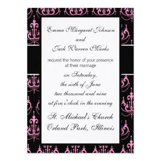 """damasco rosado de la lámpara en diseño negro invitación 5.5"""" x 7.5"""""""