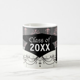 damasco rosado de la lámpara en la graduación gris tazas