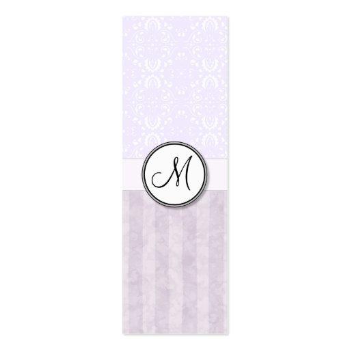 Damasco rosado de la lavanda con las rayas y el mo tarjeta personal