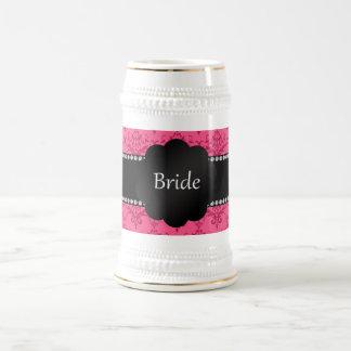 Damasco rosado de los regalos de la novia taza de café