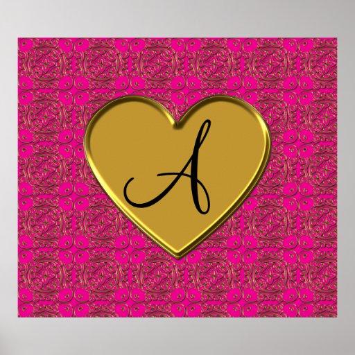 Damasco rosado de neón del marroquí del oro del mo póster