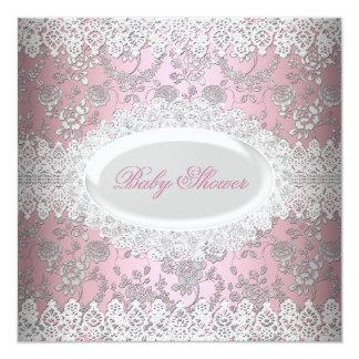 Damasco rosado del cordón de la fiesta de invitación 13,3 cm x 13,3cm