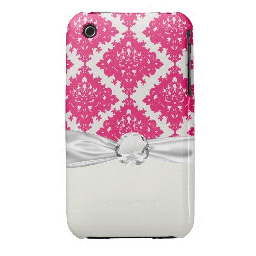 damasco rosado del diamante de la frambuesa en bla iPhone 3 Case-Mate protector