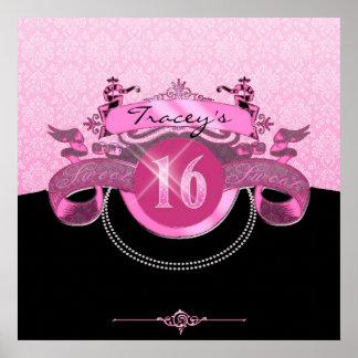 Damasco rosado del dulce dieciséis póster