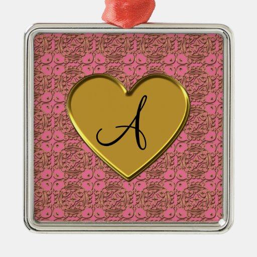 Damasco rosado del marroquí del oro del monograma adorno cuadrado plateado