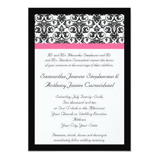"""Damasco rosado del Victorian y blanco fucsia Invitación 5"""" X 7"""""""