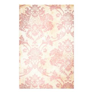 Damasco rosado del vintage papelería