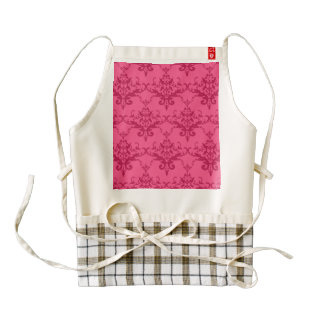 Damasco rosado delantal zazzle HEART