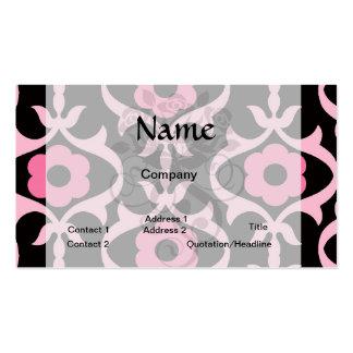 damasco rosado elegante caprichoso de la flor en plantilla de tarjeta de visita
