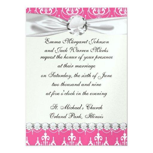 """damasco rosado elegante de la lámpara blanca invitación 5.5"""" x 7.5"""""""