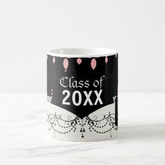 damasco rosado elegante de la lámpara en graduado  taza de café