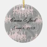 damasco rosado elegante de la lámpara en negro adorno redondo de cerámica