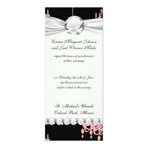 """damasco rosado elegante de la lámpara en negro invitación 4"""" x 9.25"""""""