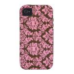 Damasco rosado elegante del Victorian Vibe iPhone 4 Funda