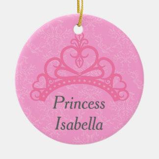 Damasco rosado elegante, princesa Tiara Ornamento De Reyes Magos