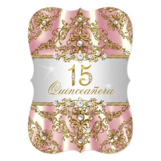 """Damasco rosado elegante Quinceanera de la perla Invitación 5"""" X 7"""""""