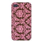 Damasco rosado femenino del Victorian iPhone 4/4S Funda