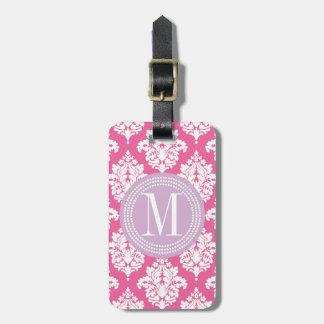 Damasco rosado femenino elegante personalizado etiquetas maletas