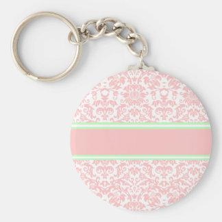 Damasco rosado llavero redondo tipo pin