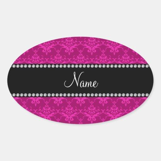 Damasco rosado magenta conocido personalizado calcomania oval personalizadas
