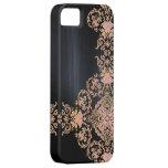 Damasco rosado metálico negro del brillo iPhone 5 Case-Mate funda