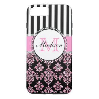 Damasco rosado moderno femenino del brillo funda iPhone 7 plus