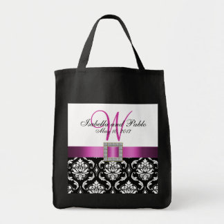 Damasco rosado, negro personalizado casando la bolsa tela para la compra