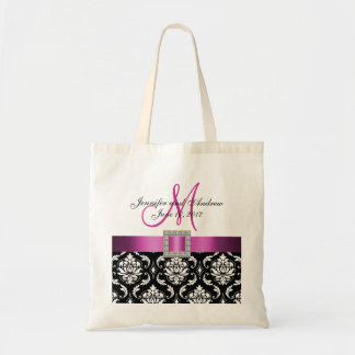 Damasco rosado, negro personalizado casando la bolsas lienzo