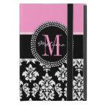 Damasco rosado, negro su inicial, su nombre iPad mini cobertura