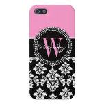 Damasco rosado, negro su inicial, su nombre iPhone 5 protector