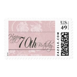 Damasco rosado para el 70.o cumpleaños sello postal