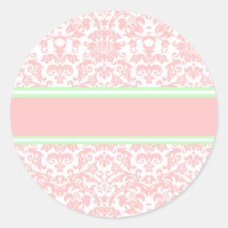 Damasco rosado etiquetas redondas