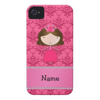 Damasco rosado personalizado de la princesa conoci iPhone 4 fundas
